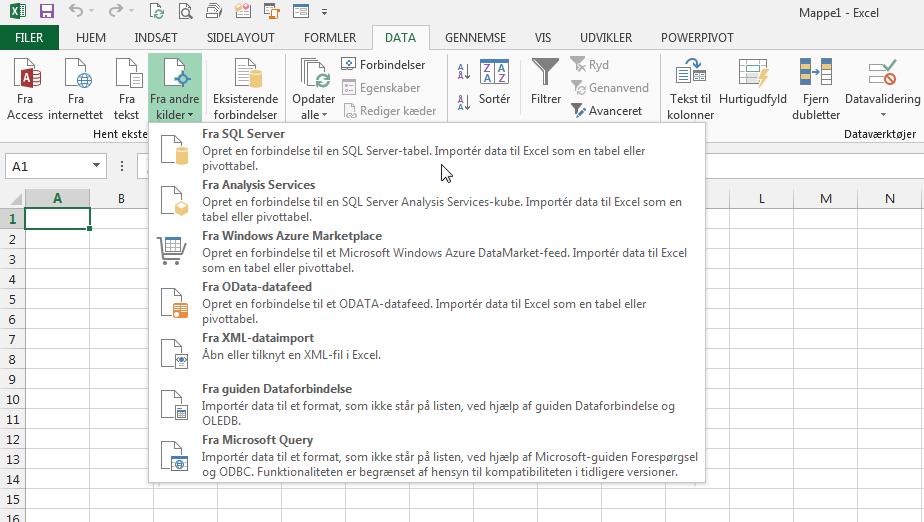 EXCEL: Data fra SQL-server