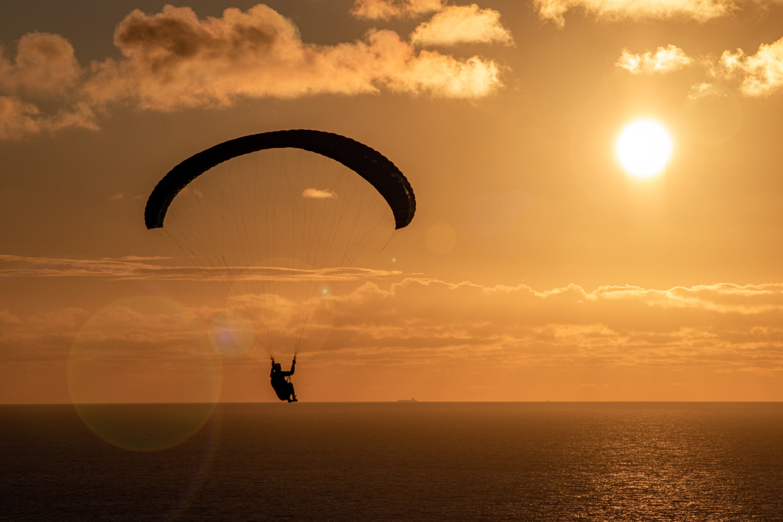 Paraglider in the sunset