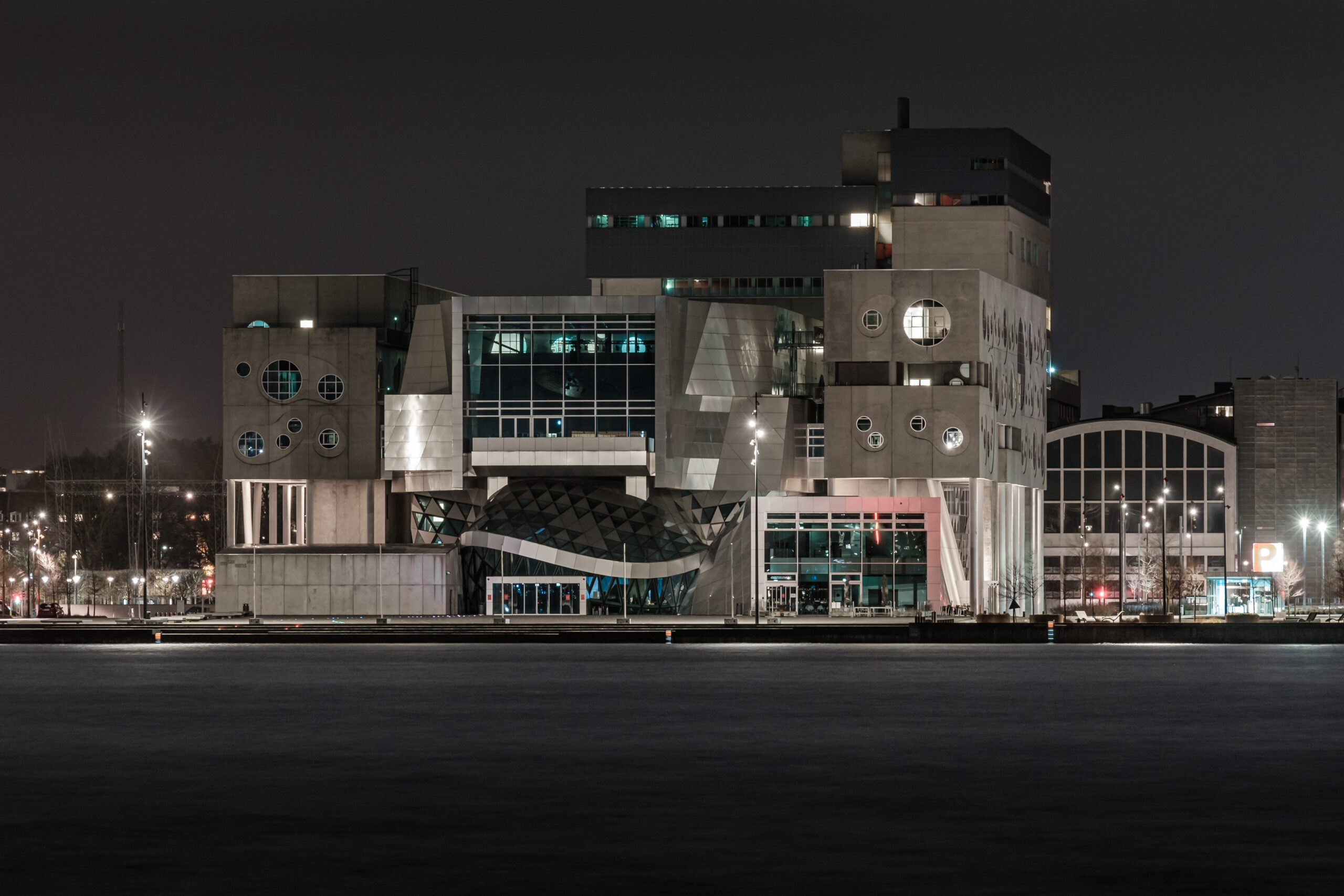 Musikkens Hus (House of Music) at night